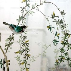 Verre Eglomise Sample: Baby Willow Tree & Blue Bird. Reverse painting & silver leaf gilding on glass by Timna Woollard Studio