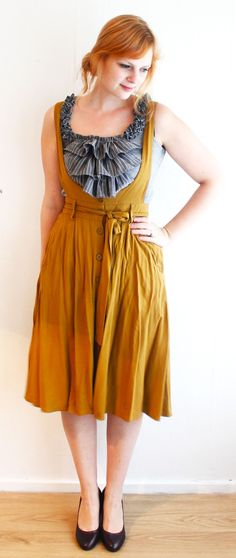 This tutorial shows how an old men's shirt was upcycled into ruffles on the grey top. But I am re-pinning mainly because I like the design of the orange/brown dress. I may try to make a similar one.