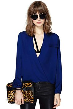 Chandler Wrap Blouse - Navy