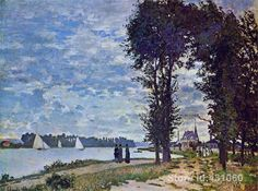 Beautiful abstract oil painting custom size The Banks of the Seine at Argenteuil hand painted on linen free shipping