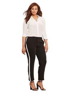 Sueded Crepe Tuxedo Pant - Lauren Woman Pants - RalphLauren.com