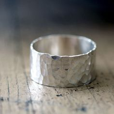 Hammered Wide Band Wedding Ring - praxis jewelry