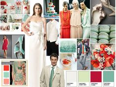 poppy red + mint + seafoam + ivory : PANTONE WEDDING Styleboard : The Dessy Group