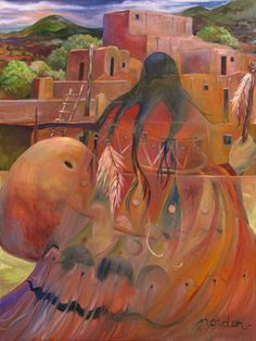 Paintings by Marilu: Vibrant Spirits of the Southwest Working with a vibrant palette using a variety of media, Marilu Norden invites the viewer to Native American Paintings, Native American Photos, Native American Artists, American Indian Art, American Women, Mexican Paintings, Paintings I Love, Indian Paintings, Southwestern Art