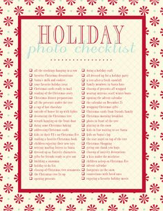 List of photos to take during the holiday season.