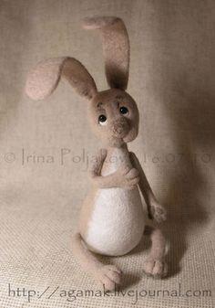 """Bunny """"Athos"""" -- Irina Polyakova -- July 16, 2010 -- Валяние. Авторские игрушки Ирины Поляковой - «Афоня»"""