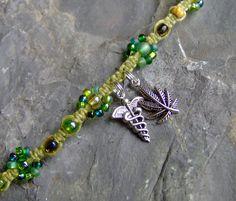 Medical / Medicinal Marijuana Cannabis Green Hemp Bracelet - HIV / AIDS - Glaucoma / Cancer / Alternative Medicine - Hemp Jewelry. $15.00, via Etsy.
