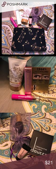 "Tarte, Sephora, Two Faced Ipsy Glam bag mix kit All large sample sizes new and unopened.  Some from a Tarte Kit, some from Sephora, some from my Ipsy Glam Bag.   Actual Glam bag included.   Samples included are Tarte Bazilliance Sunless Tanner, Tarte Maracuja Oil, Too Faced Better than Sex Mascara, Smashbox photo finish hydrating under eye primer and a freematic blush in ""Zen Orange"" which is a warm shimmery Coral.   Great Products... and a chance to try for a great bargain price! 💖. Happy…"
