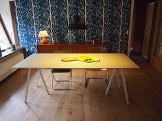 DIY dinner table  8mm Fiber cement board on 22 mm MDF board Standing on Hay Loop