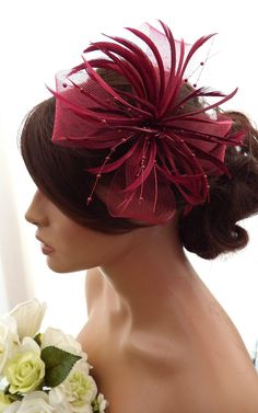Stunning Burgundy Feather Net Bow with Pearl Fascinator Hair Clip Corsage Races Sinamay Hats, Millinery Hats, Fascinator Hats, Fascinators, Headpieces, Red Hat Society, Bridal Hat, Feather Hat, Crafts