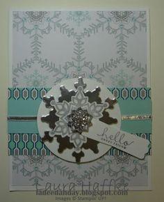 Festive Flurry stamp set and Framelits, Six Sided Sampler stamp set, Winter Frost DSP, Frosted Finishes Emgellishments  (2013 Holiday Catalog stampin' Up!)