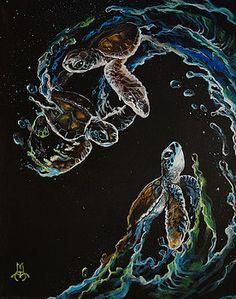 New Hope Painting by Marco Antonio Aguilar Sea Turtle Art, Baby Sea Turtles, Turtle Love, Sea Turtle Painting, Hope Painting, 4 Tattoo, Armband Tattoo, Sea Life Art, Mundo Animal