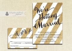 Gold and Black Wedding Invitation & RSVP 2 Piece Suite with gold glitter look by digibuddhaPaperie, $40.00