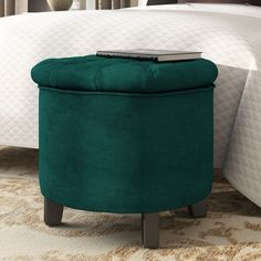Round Storage Ottoman Green Cotton Foam Lift off Lid Wooden Bedroom Furniture for sale online Round Storage Ottoman, Tufted Storage Ottoman, Cube Storage, Hidden Storage, Knitted Pouffe, Velvet Footstool, Cocktail Ottoman, Frame Crafts, Tufting Buttons