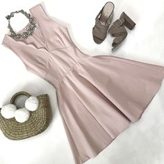 Scalloped dress, pom pom straw bag, orchid heels, crystal necklace, summer dress, summer outfit, spring outfit, petite fashion, stylish petite blog - click the photo for outfit details!