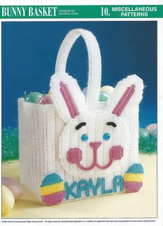Bunny Basket Plastic Canvas Pattern by needlecraftsupershop,