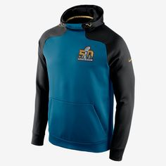 WARM COMFORT FOR THE BIG GAME The SB50 Nike Hyperspeed Pullover (NFL) Men's Training Hoodie features bold game graphics on brushed Therma-FIT fleece for a proud look and insulated comfort. Benefits Therma-FIT fabric helps keep you warm and comfortable Adjustable scuba hood offers warmth and blocks out the elements Raglan sleeves with panels for natural range of motion Game details at the chest for pride Product Details Fabric: Therma-FIT 100% polyester Machine wash Imported