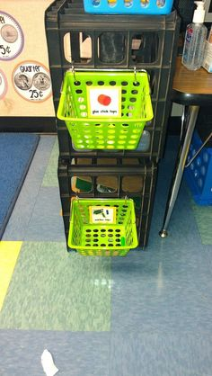 Use baskets for storage- use rings to attach them to crate shelves. Great use for dollar store baskets!