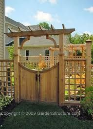 Double gate w/ arbor and black wrought iron hardware