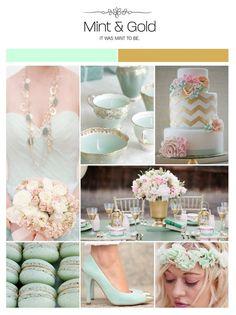 Mint and pink. Adore the bouquet arrangement
