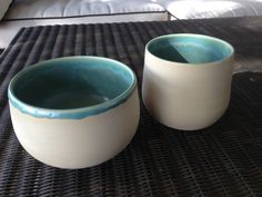 Bowl and mug set...Hornby Summer series.  A rich matt ocean green glaze inside, with the outside left bare. Lovely to hold.  Available at Tartooful, North Vancouver.