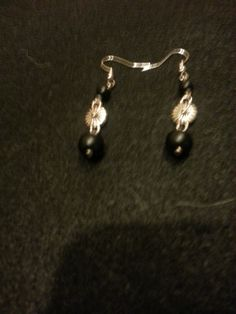 Silver flower and black dangle-SOLD!!