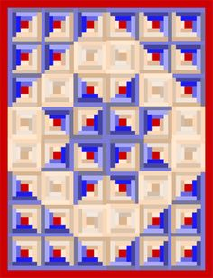 next quilt in the planning process. I'm going to just do the center 16 log cabin blocks to create the star for a wall-hanging quilt. I'm thinking a Fall colorway. Rusts, yellows, and browns. Log Cabin Quilt Pattern, Patchwork Quilt Patterns, Log Cabin Quilts, Log Cabins, Rustic Cabins, Star Quilt Blocks, Star Quilts, Flag Quilt, Amish Quilts