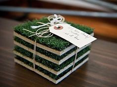 Turf coasters, love it!