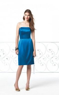 Modest Princess Knee-length Strapless Royal Blue Satin Dress