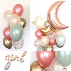 Twinkle Little Star Balloons Twinkle Little Star Baby Shower by HullaballoonsParty on Etsy - Baby Diy Otoño Baby Shower, Shower Bebe, Baby Girl Shower Themes, Baby Shower Brunch, Girl Baby Shower Decorations, Baby Shower Balloons, Babyshower Girl Ideas, Baby Shower For Girls, Baby Decor