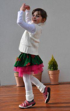 Twirly girls skirt NOVELTY folk design green by NinuMiluBagDolls