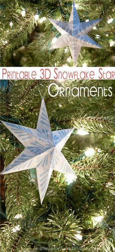 Trim the tree with these beautiful printable snowflake star ornaments. Easy to print and fold and add instant style to your Christmas tree this year. Diy Christmas Star, All Things Christmas, Handmade Christmas, Christmas Holidays, Christmas Decorations, Christmas Ornaments, Christmas Ideas, Christmas Math, Vegan Christmas