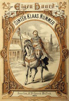 Vintage Santa Clas on a hourse  Sinterklaas 'illustratie' 1880