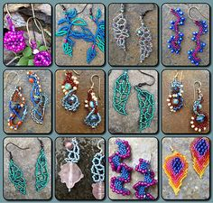 Free form peyote earrings  unique ideas - Kits and tutorials for sale.