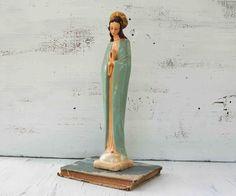 Vintage MARY Statue Retro Aqua Virgin Mary by redtruckdesigns, $26.00