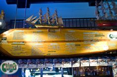 Surf board menu @ Chimy's Fort Worth