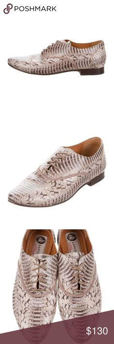 e579f838db9 Lanvin Embossed Leather Lace-Tie Oxfords 38.5 US 8   SNAKESKIN OXFORDS
