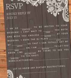 Ad Lib / Mad Lib Wedding RSVP | Customized Rustic RSVP | Lace and Wood | DIY Printable | Mad Lib Postcard or Card and Envelope by BohoChicDesigners on Etsy