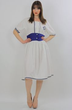 Vintage 80s Boho Hippie cotton nautical sailor navy Prairie dress high waisted Medium White Nautical styling 100% Cotton Button front closure No marked size; Fits like M Condition: Excellent Vintage c