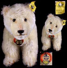 Rare Tiniest & Earliest Steiff Polar Bear Baby Brother All ID: Removed Steiff Teddy Bear, Teddy Bears, German Toys, Old Toys, Polar Bear, Vintage Toys, Puppets, Childhood Memories, Vintage Antiques