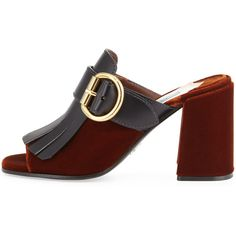 Prada Leather Velvet Kiltie Mule Pump, Tobacco/Black (€750) ❤ liked on Polyvore featuring shoes and pumps