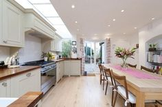 Open plan kitchen extension with stainless cooker Kitchen Extension, Home, Home Kitchens, Kitchen Design, Kitchen Inspirations, Kitchen Renovation, Kitchen Decor, New Kitchen, House
