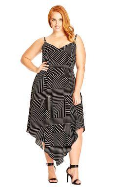 City Chic Mono Stripe Dress - Women's Plus Size Fashion City Chic - City Chic…