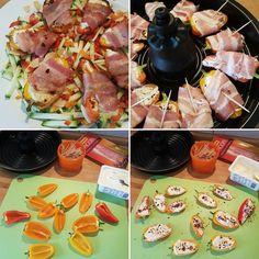 Gefüllte Minipaprika im Speckmantel Zubereitung auf der Grillplatte der Actifry 2in1 Hier auf einem rohen Zucchini - Paprika Salat mit Olivenöl und Mandelplättchen Kleine Paprika längs halbieren und Kerne entfernen. Mit Frischkäse füllen pfeffern salzen und mit Chiliflocken bestreuen. Paprika mit einem halben Bacon Streifen ummanteln und mit einem Zahnstocher fixieren. Auf der Grillplatte 10 Minuten kreiseln lassen. Guten Appetit #sugaradeerezept #tefal #tefalactifry #actifry #actifry