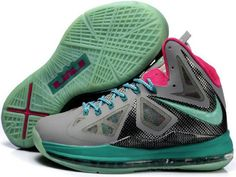 buy online b6dac 76df4 Nike LeBron 10 South Beach Grey Pink Black Blue Upper  Hyperfuse upper with  dynamic Flywire