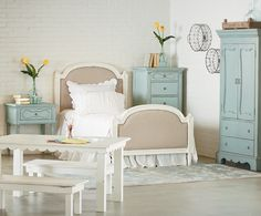With Joanna's French Inspired Youth Bedroom, it's the details that tell the story.  This delightful group weaves together timeless classic details such as flutes, rosettes and curvy silhouette frames with a fresh simplicity that makes it perfect for girls of all ages. The Fabric Panel Bed comes in twin, full and queen and was inspired by one that Jo chose for her own little girl's room. For this room setting, Joanna also brought in her scalloped Farmhouse Kid's Table and Bench for the…