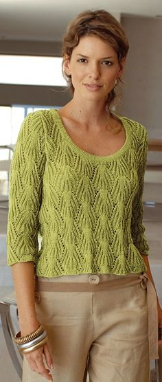 пуловер спицами - in Russian but has the scheme for the pattern Summer Knitting, Knit Jacket, Crochet Yarn, Knitwear, Knitting Patterns, Sweaters For Women, Clothes, Neck Pattern, Sleeve Pattern