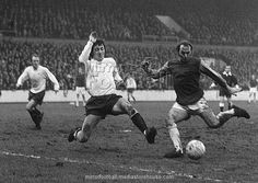 18th November 1972. West Ham's Bryan 'Pop' Robson shoots for goal before Derby County centre half Roy McFarland could block the shot