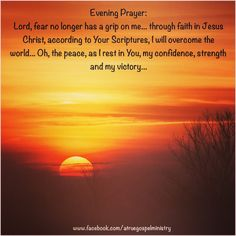 Evening Prayer: Lord, fear no longer has a grip on me... through faith in Jesus Christ, according to Your Scriptures, I will overcome the world... Oh, the peace, as I rest in You, my confidence, strength and my victory... #instaquote #quote #seekgod #godsword #godislove #gospel #jesus #jesussaves #teamjesus #LHBK #youthministry #preach #testify #pray #rollin4Christ #atruegospelministry #faith #confidence #strength #victory