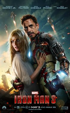 Check it out, Iron Man fans! Tony Stark (Robert Downey, Jr.) and Pepper Potts (Gwyneth Paltrow) embrace on the latest poster for Marvel's Iron Man 3!    http://marvel.com/ironman3